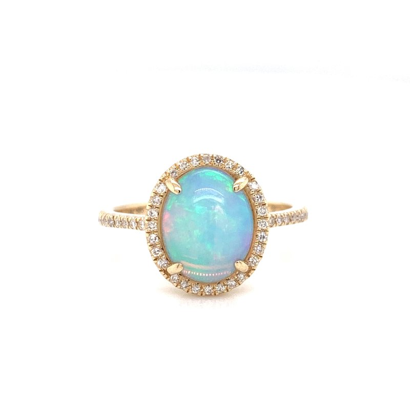 Corinth Collections  14K Yellow Gold Opal with Diamond Halo