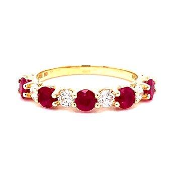 14 Karat White Gold Alternating Round Ruby and Diamond Anniversary Band