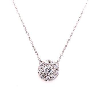 14 Karat White Gold Round Diamond Halo Necklace