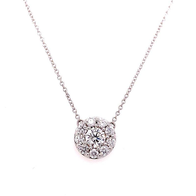 Corinth Collections  14 Karat White Gold Round Diamond Halo Necklace