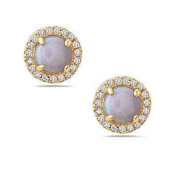14 Karat Yellow Gold Round Cut Opal Earrings with Diamond Halo