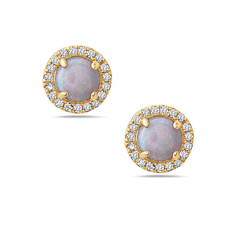 Corinth Collections  14 Karat Yellow Gold Round Cut Opal Earrings with Diamond Halo