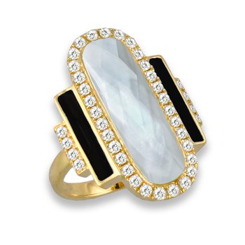 18 Karat Yellow Gold Elongated Oval and Rectangle 3-Stone Mother of Pearl and Black Onyx with Clear Quartz Overlay Diamond Fashion Ring