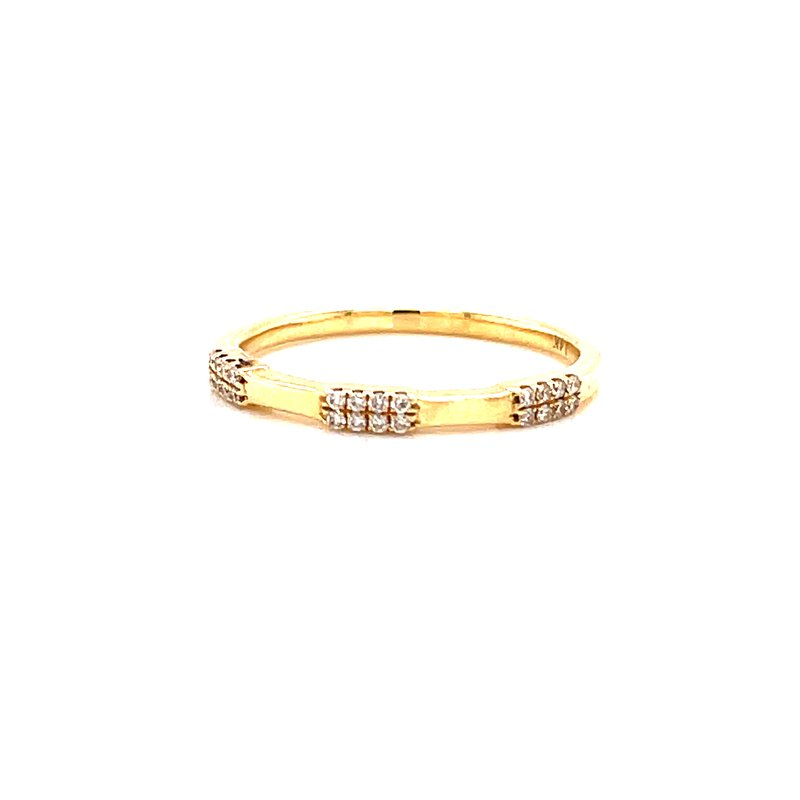 Corinth Collections  14 Karat Yellow Gold Diamond Stacker Band with Polished Gold Accent