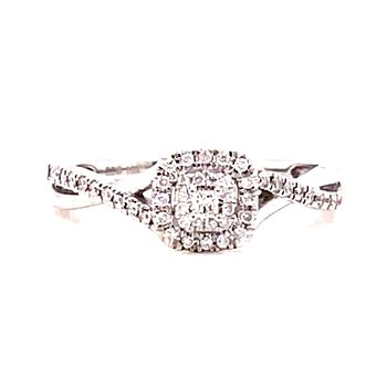 10 Karat White Gold Princess Cut Center Stone with Double Diamond Cushion Halo Engagement Ring