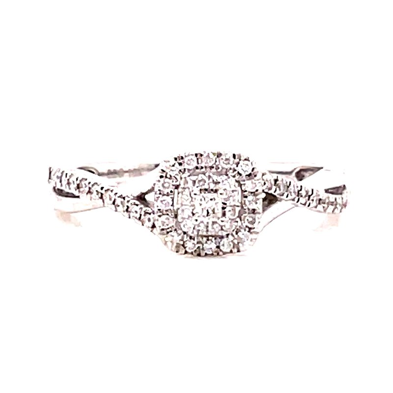 Corinth Collections  10 Karat White Gold Princess Cut Center Stone with Double Diamond Cushion Halo Engagement Ring