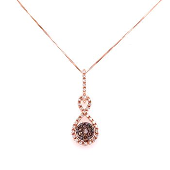 14K Rose Gold Brown and White Diamond Cluster Necklace