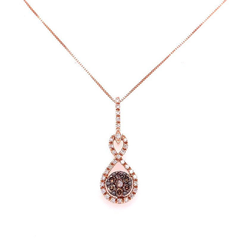 Corinth Collections  14K Rose Gold Brown and White Diamond Cluster Necklace
