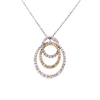 14 Karat White and Yellow Gold Triple Oval Diamond Shape Fashion Necklace