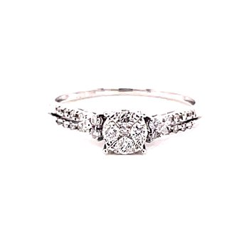 10 Karat White Gold Round Illusion Center with Tapered Diamonds on the Shank Engagement Ring