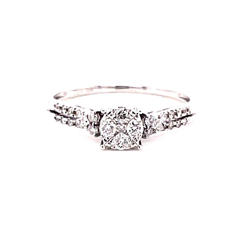 Corinth Collections  10 Karat White Gold Round Illusion Center with Tapered Diamonds on the Shank Engagement Ring