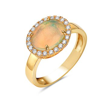 14 Karat Yellow Gold East to West Opal with a Diamond Halo Ring