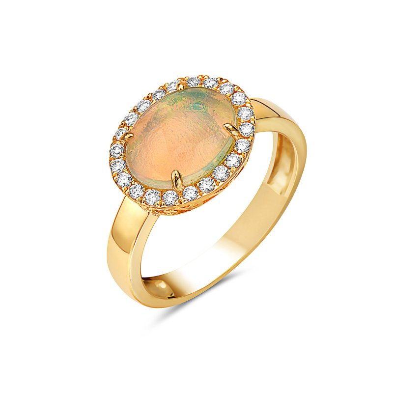 Corinth Collections  14 Karat Yellow Gold East to West Opal with a Diamond Halo Ring