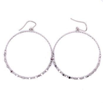 Sterling Silver Hammered and Beveled Edged Hoop