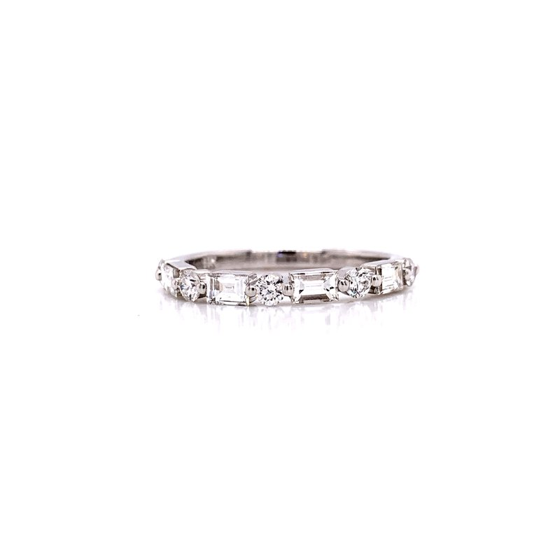 Corinth Collections  14 Karat White Gold Round and Baguette Alternating Diamond Stacker Band