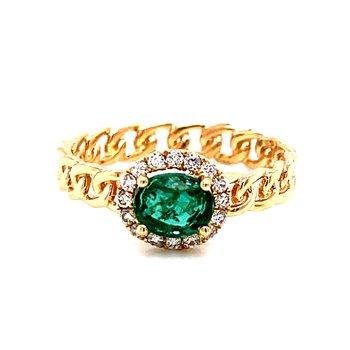 14 Karat Yellow Gold Oval Cut Emerald and Diamond Fashion Ring with Chain-like Shank