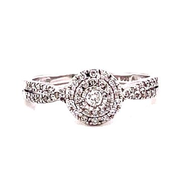 10 Karat White Gold Round Center with Double Diamond Halo Engagement Ring with Twisted Diamond Shank