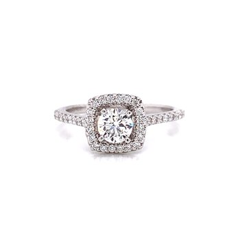 14 Karat White Gold Round Center with Cushion Diamond Halo Engagement Ring