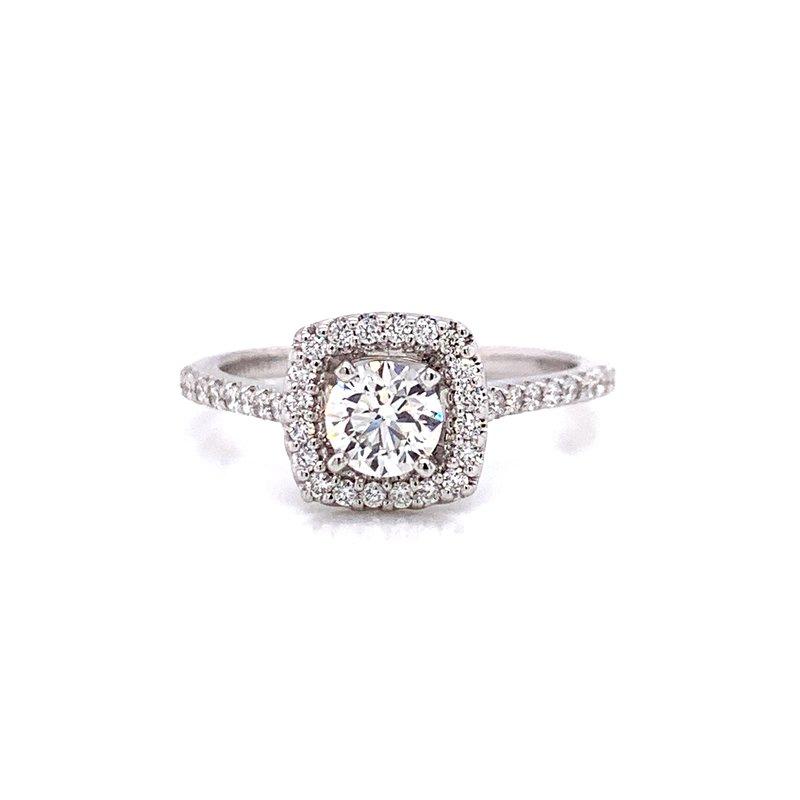 Ashi Diamonds 14 Karat White Gold Round Center with Cushion Diamond Halo Engagement Ring