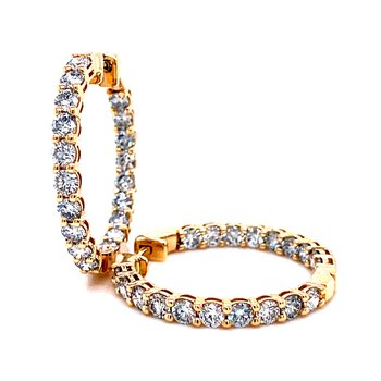 14 Karat Yellow Gold Round Diamond Inside Outside Lab Grown Hoop Earrings - 3.0 cttw