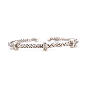 Sterling Silver Triple Rondell with Diamond Accent Cuff