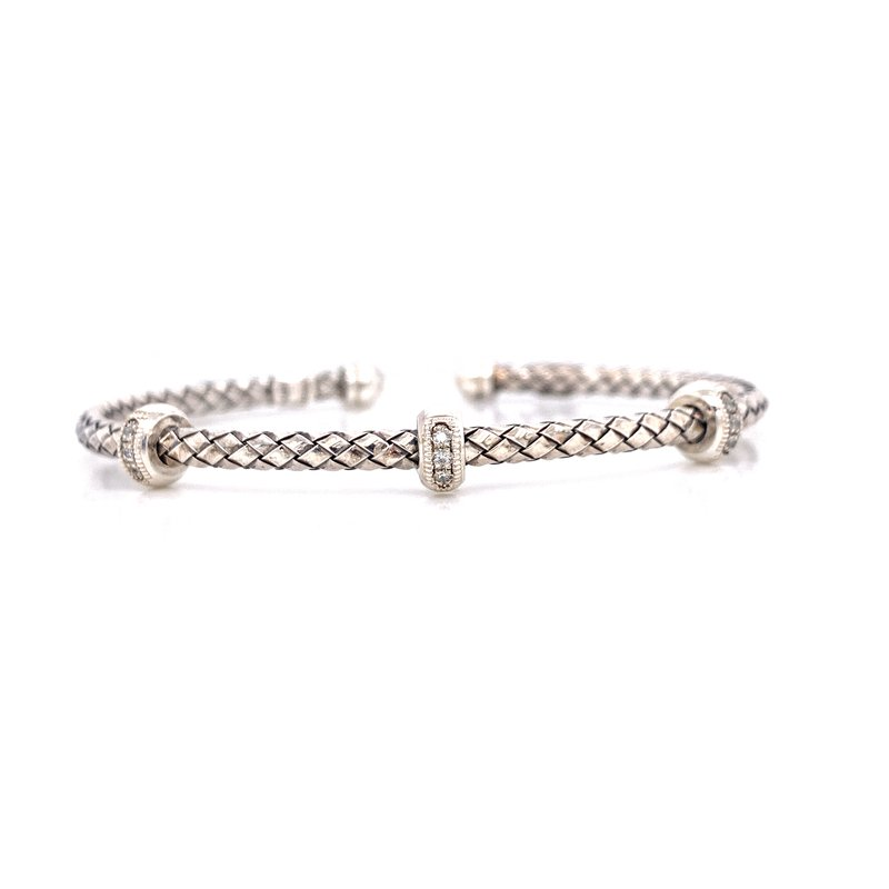 Corinth Collections  Sterling Silver Triple Rondell with Diamond Accent Cuff