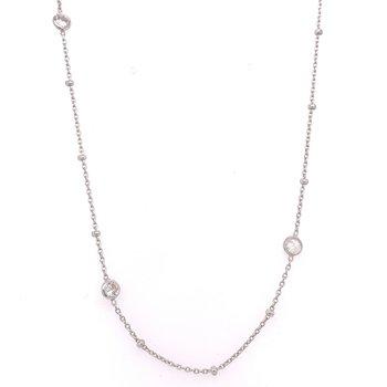 Sterling Silver Adjustable Bezel Station Necklace