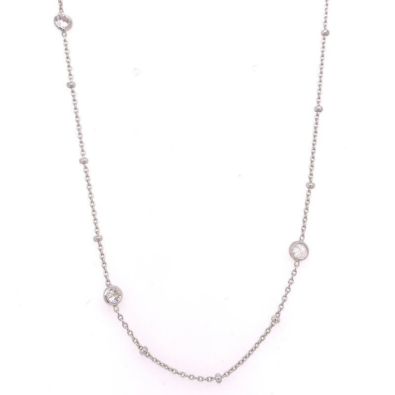 Corinth Collections  Sterling Silver Adjustable Bezel Station Necklace