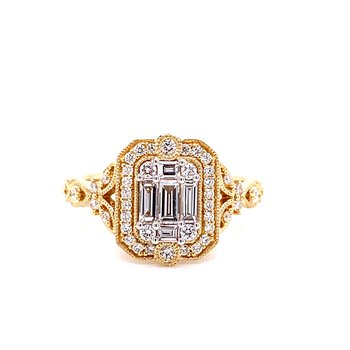 14 Karat Yellow Gold Baguette Diamond Vintage Ring with Filligree Details