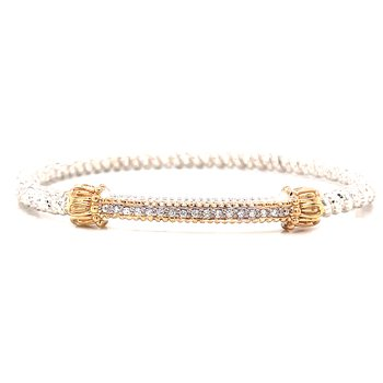 14 Karat Yellow Gold and Sterling Silver Petite Diamond Bar Vahan Bracelet