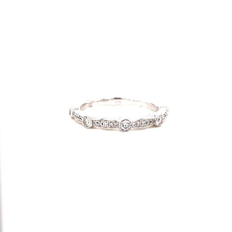 Corinth Collections  14 Karat White Gold Alternating Round and Channel Set Diamonds Diamond Stacker Band