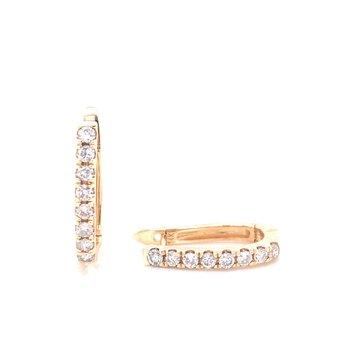 14K Yellow Gold Diamond Huggies