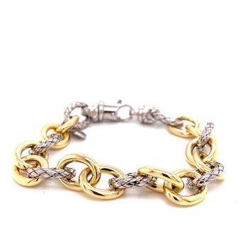 Italian Silver and 18 Karat Yellow Gold Oval Link Bracelet
