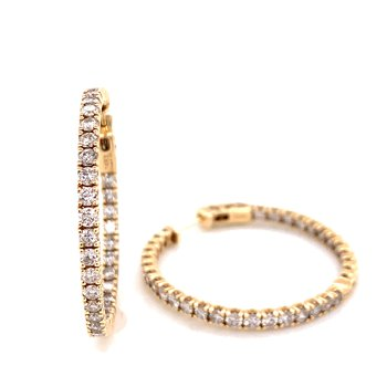 14K Yellow Gold Round Diamond Hoops