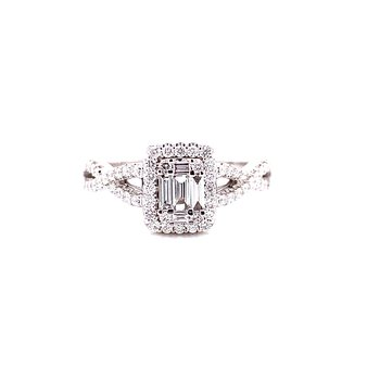 14 Karat White Gold Baguette and Round Diamond Engagement Ring with Infinity Shank