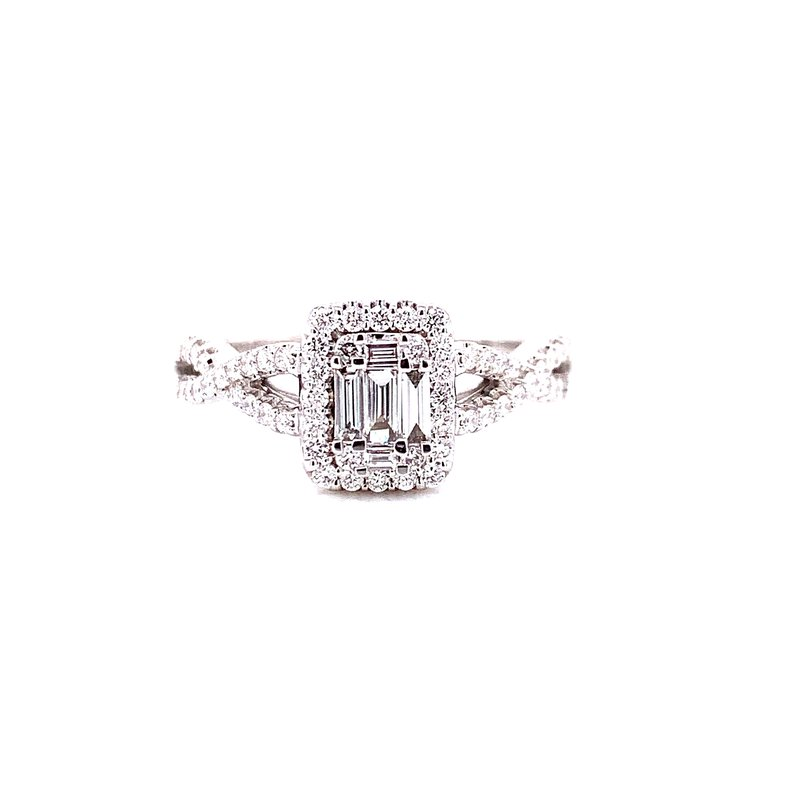 Ashi Diamonds 14 Karat White Gold Baguette and Round Diamond Engagement Ring with Infinity Shank
