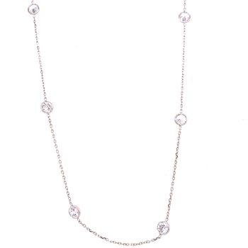 14 Karat White Gold CZ Bezel Station Necklace