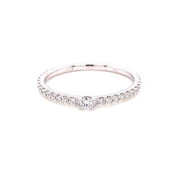 14 Karat White Gold Single Diamond Fashion Band