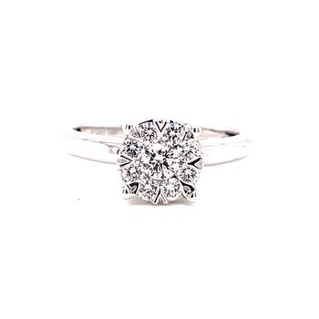14 Karat White Gold Illusion Round Center with Polished Shank Solitaire Engagement Ring