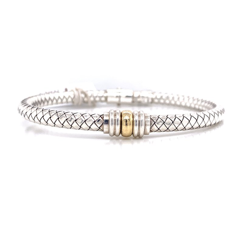Corinth Collections  Italian Silver and 18K Gold Hinged Bangle