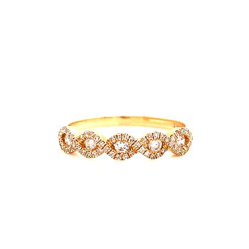 14 Karat Yellow Gold Infinity Diamond Stacker Band