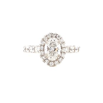 14 Karat White Gold Oval Center with Diamond Halo Engagement Ring