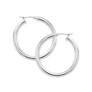 Sterling Silver 3 x 30mm Tube Hoop Earrings