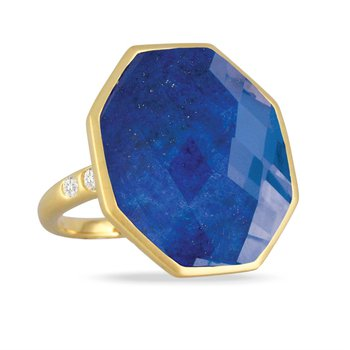 18 Karat Yellow Gold Round Checkered Lapis with Clear Quartz Overlay and Diamond Accent Ring