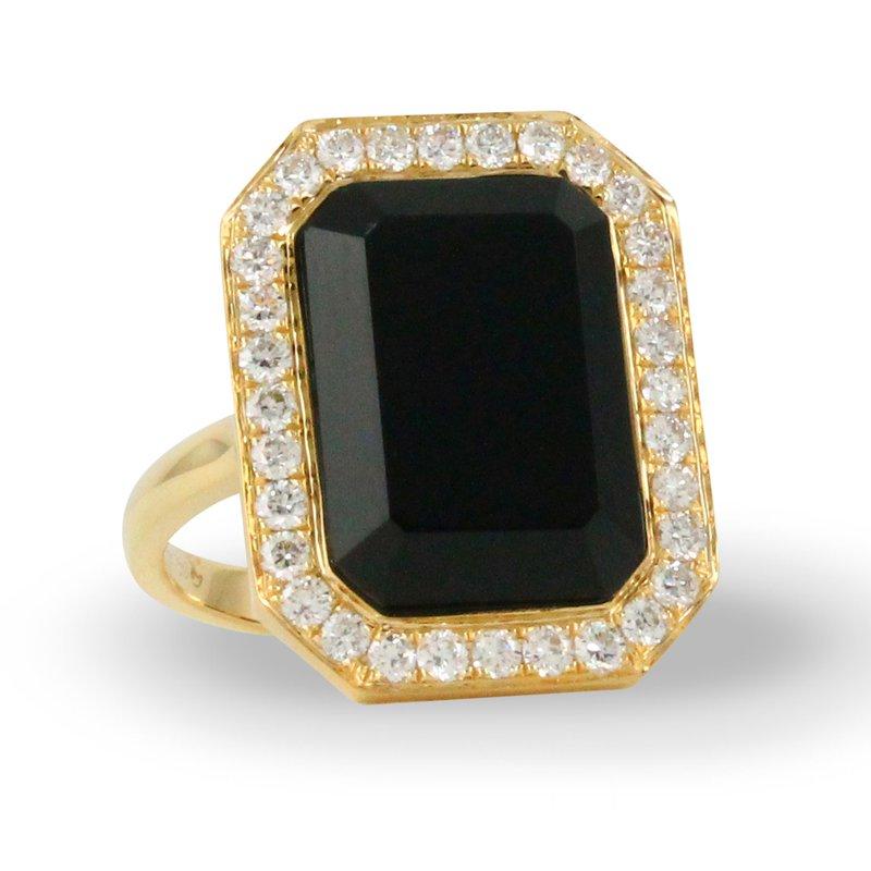 Corinth Collections  18 Karat Yellow Gold Rectangular Black Onyx Center Stone with Diamond Halo Fashion Ring