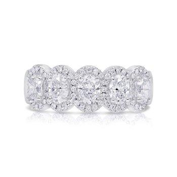14 Karat White Gold Five Stone Oval Cut Diamonds with Diamond Halo Anniversary Band