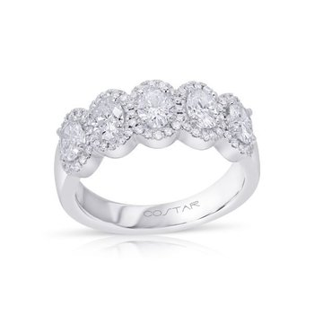 14 Karat White Gold Five Stone Oval Cut Diamonds with Diamond Halo Anniversary Band