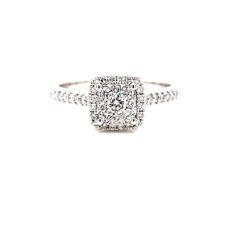 Ashi Diamonds 14 Karat White Gold Illusion Cushion Center with Diamond Halo Engagement Ring