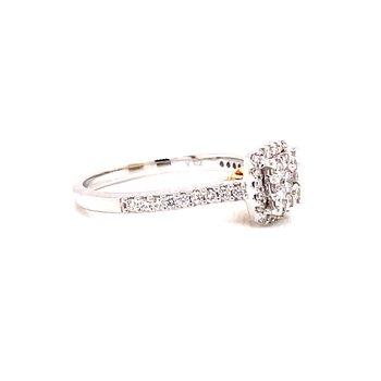 14 Karat White Gold Illusion Cushion Center with Diamond Halo Engagement Ring