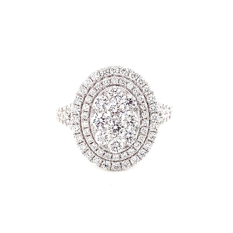 Corinth Collections  14 Karat White Gold Oval Illusion Center with Double Diamond Halo and Split Shank